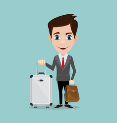 happy man with luggage on background a vector image
