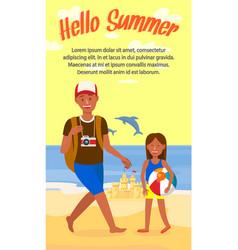 hello summer lettering cartoon flyer template vector image