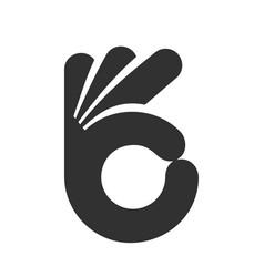 human hand gesture ok icon vector image