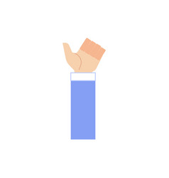 human hand in business suit showing thumbs up vector image