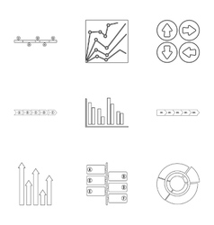 Idea business icons set outline style vector