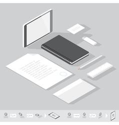 isometric branding mock-up vector image