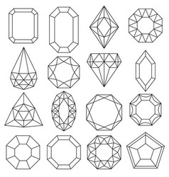 jewels set gems and diamonds outline design vector image