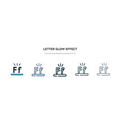 Letter glow effect icon in different style two vector
