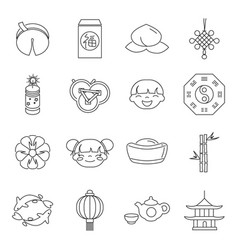 line art chinese new year party holiday vector image