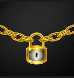 lock chain gold vector image