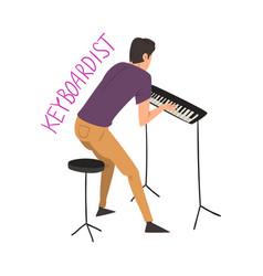 male keyboardist playing music creative hobor vector image