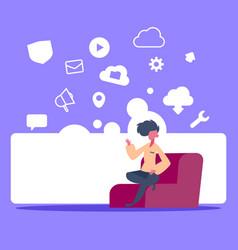 man sitting online data cloud synchronization vector image