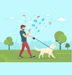 man walking with dog outdoors in park and using vector image