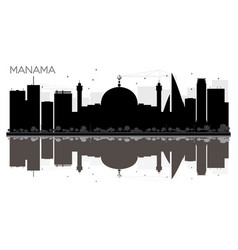 manama city skyline black and white silhouette vector image