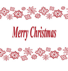 merry christmas on white background with red vector image