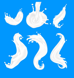 milk wave white yogurt and cream splash flows vector image