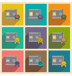 Modern collection flat icons with shadow safe vector