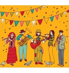 Music festival flags group musicians color vector image
