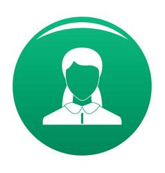 New woman avatar icon green vector