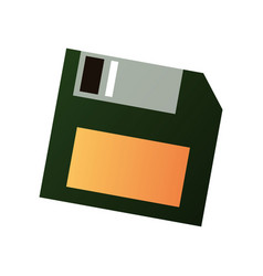 Old retro floppy disk from plastic and metal vector