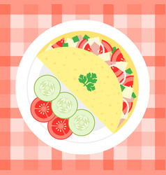 omelette with vegetables flat design vector image