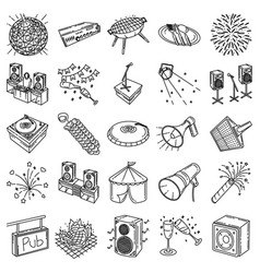 party set icon doodle hand drawn or outline icon vector image