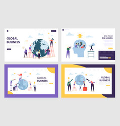 People character make global business landing page vector
