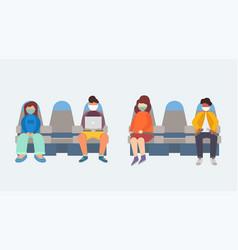 people in medical masks sit on plane vector image