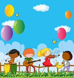 People playing musical instrument in the park vector