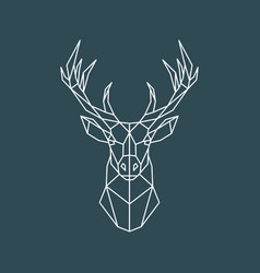 polygonal deer portrait geometric animal vector image