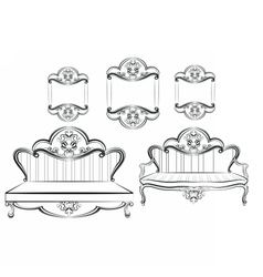 Royal Sofa and Frames set vector