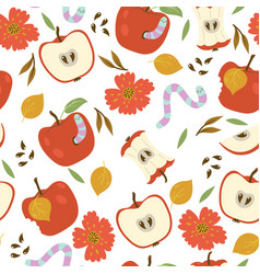 Seamless pattern with apples and worms on a white vector