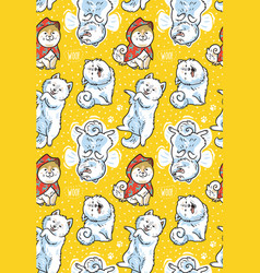 Seamless pattern with cartoon funny samoyed dogs vector