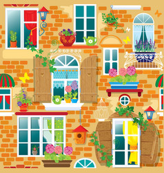 Seamless pattern with Windows and flowers in pots vector