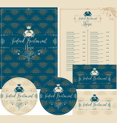Set of design elements for seafood restaurant vector
