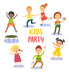 Set of kids children having fun at birthday party vector