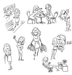 Set of sketchy woman vector