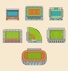Set of sport stadiums building vector
