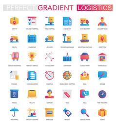 set trendy flat gradient logistics vector image