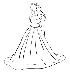 sketch of a wedding dress color on white vector image