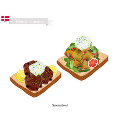 Smorrebrod with roast pork the national dish of de vector