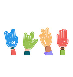 Sport fans crowd hands gestures gloves foam vector
