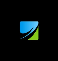 square business finance arrow logo vector image