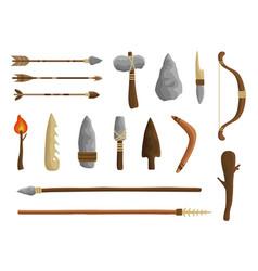 Stone age tools set caveman civilization culture vector