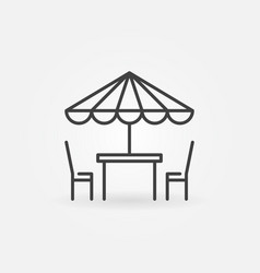 street cafe icon table and chairs line symbol vector image