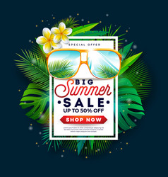 summer sale design with sunglasses and exotic palm vector image