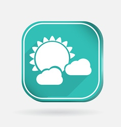 Sun behind the cloud Color square icon vector