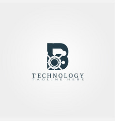 Technology icon template with b letter creative vector