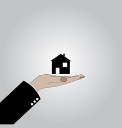 the hand keeps the house vector image