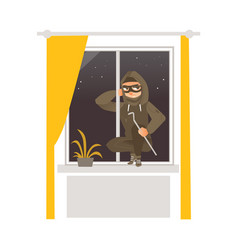 Thief in mask breaking into house through window vector