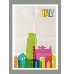 Travel Italy landmarks skyline vintage poster vector image
