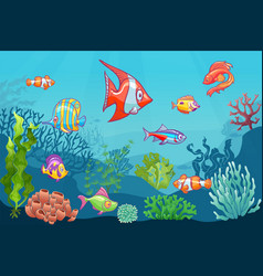 Underwater seascape cartoon aquatic sea wild life vector