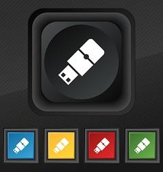 USB flash icon symbol Set of five colorful stylish vector image