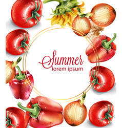 vegetables watercolor poster delicious tomatoes vector image